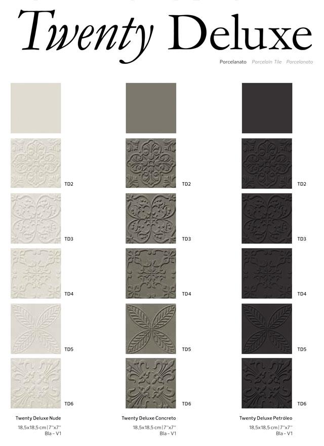 twenty deluxe revestimento decortiles porcelanato com textura arabescos