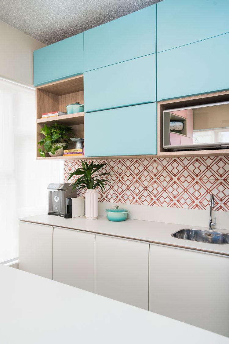 Cozinha Studio Chata de Galocha ladrilho hidáulico Calu Geo 3 Vermelho Decortiles