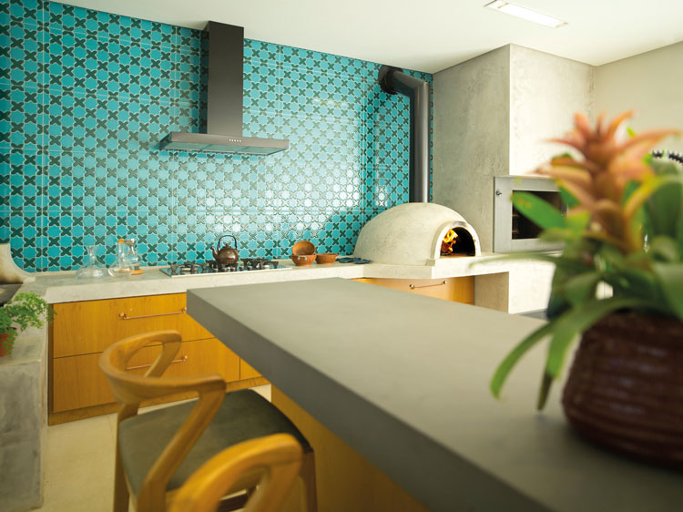 azulejo verde decortiles ibiza em área social