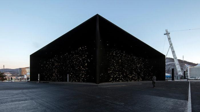edifício mais escuro da terra construído para as Olimpíadas de Inverno da Coréia do Sul por Asif Khan