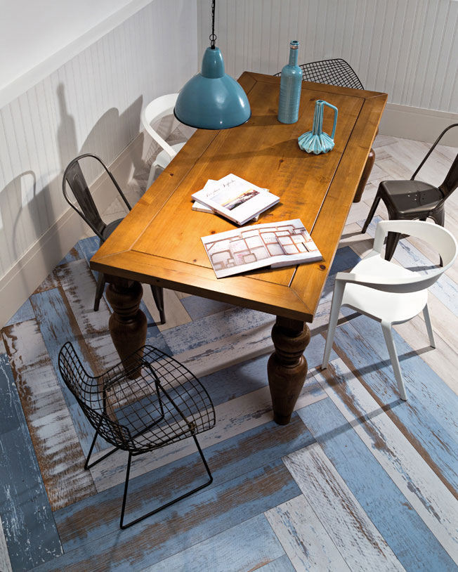 6 Porcelanato madeira azul chevron Ecovilla Decortiles Pisos e paredes geométricos