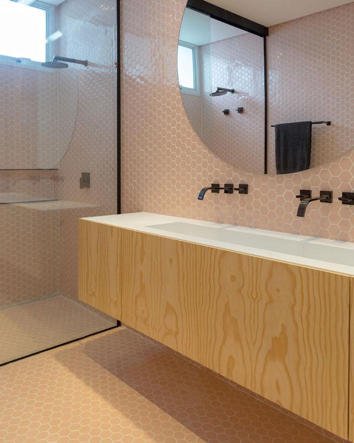 8 Pastilhas Sixties Rose Decortiles banheiro Gabriela Pugliesi Projeto WF Arquitetos  Foto Marcelo Ribeiro