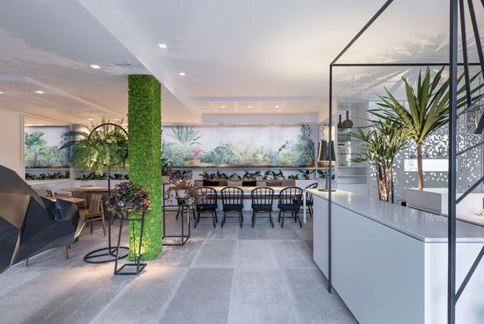 restaurante moderno com porcelanato cinza haus decortiles