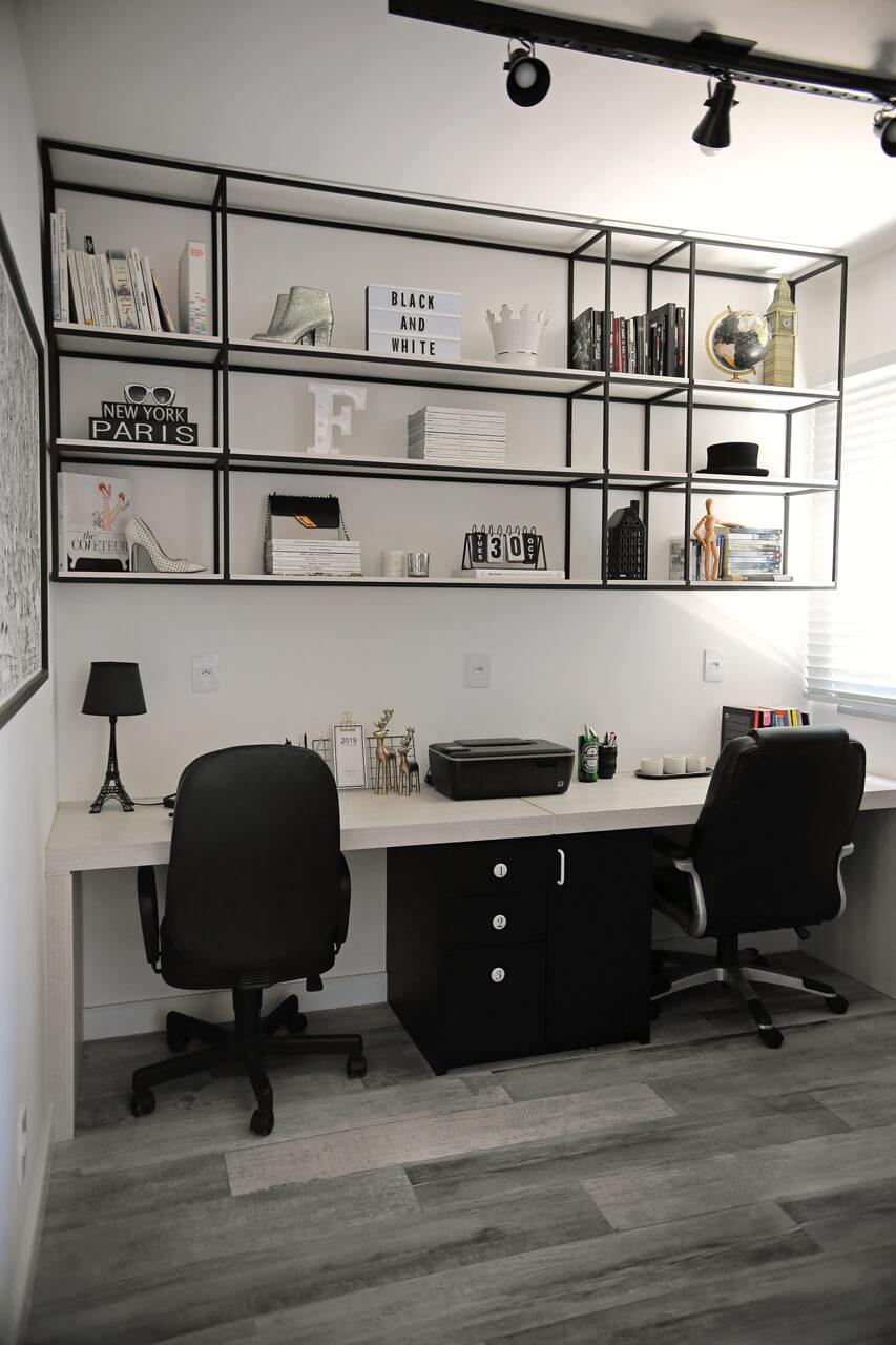 escritório do apartamento da blogueira  flávia linden do fashioncoolture com revestimentos decortiles